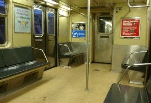 inside a subway car