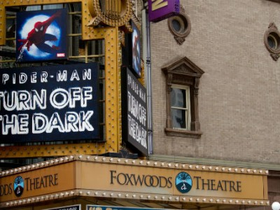 Broadway signage for Spider-man Musical