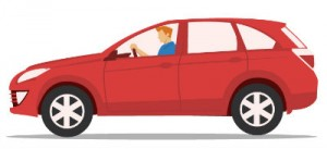 Teenager in car graphic