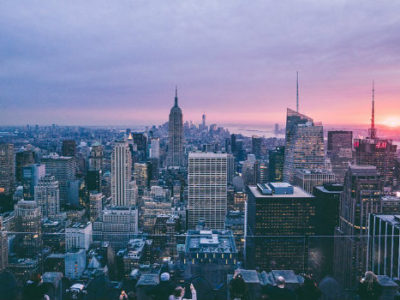 nyc cityscape at sunset